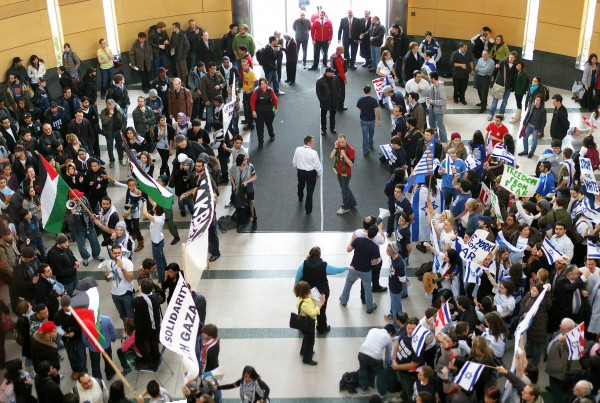 Shot from the Gaza rally at York University. Gaza supporters on the left, Israel supporters on the right. Photo by Tom Cochrane, some rights reserved.