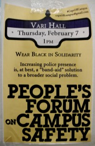 """Students debate the underlying social justice issues surrounding campus """"safety"""" in Vari Hall; just  one of many grassroots efforts to address the root causes of violence on campus."""