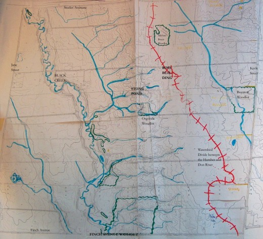 Watershed divide between the Humber and Don Rivers in the 1950s before the university was developed. Topographic map and sketches courtesy of Helen Mills, founder of Lost Rivers Walks.