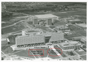 Photo of Vari Hall site before it was built