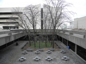 The Central Square Garden seen from the Ross Building Terrace. Two flights of stairs at the western and eastern ends of the garden once connected it to the York Terrace. Photo courtesy the author.