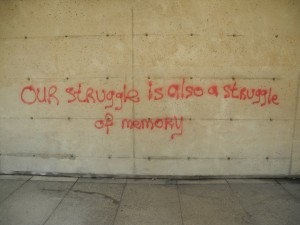 Graffiti on the walls of the Ross Building. Photo courtesy the author.