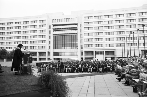 Convocation held on the Ross terrace some time in the 1970s. The podium is located against the wall of the Scott Library and the west side of the Ross Building is in the background. Photo courtesy of York University Libraries, Clara Thomas Archives and Special Collection (?), ASC 19503. NEED F#